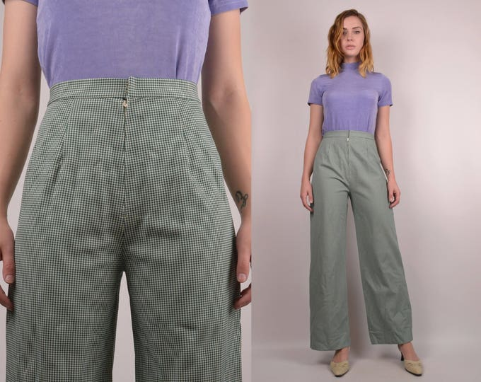 20% OFF  SALE 70's High Waist Houndstooth Pants / vintage trousers