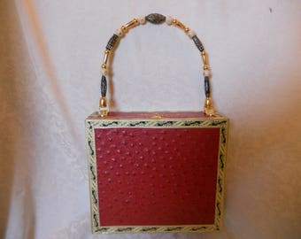Cigarbox Purse, Embossed Cherry Red Ostrich Leather, Tina Marie Purse Purse, Vintage