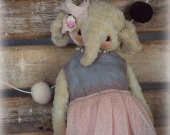 Ellie :) OOAK Vintage Style Sweet Artist Elephant by Natali Sekreta -  Antique style  - stuffed - home decor - gift - Birthday - Art Doll