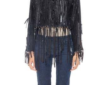 Issey Miyake Fringed Leather Jacket Size: 12