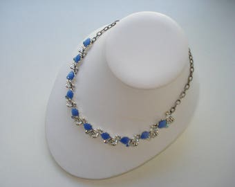 Vintage Blue Leaf Necklace - Aurora Borealis and Blue with Silver Leaves - Retro Princess Costume Jewelry 1950s