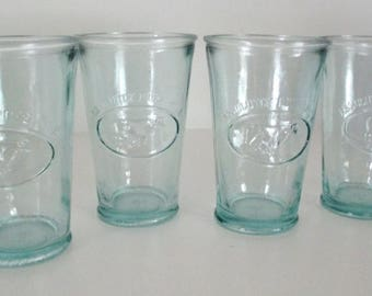 Vintage Absolutly Pure Milk 12 0z. Glass Tumblers - Set of 4 - Made in Spain