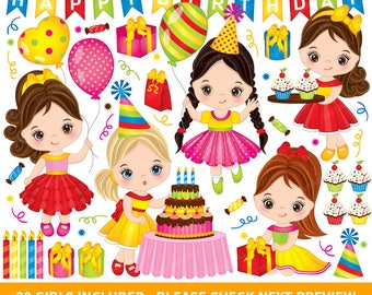 Birthday Party Clipart - Vector Birthday Clipart, Birthday Girls Clipart, Happy Birthday Clipart, Kids Clipart, Birthday Party Clip Art