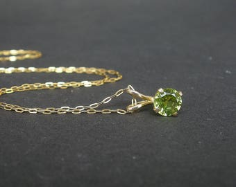 """Natural Gemstone Peridot Faceted 6mm Round Shape 14kt Yellow Gold Pendant With or Without 14kt Gold Filled 18"""" Chain"""