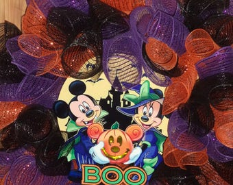 New Larger Boo To You!  Mickey & Minnie Mouse Wreath