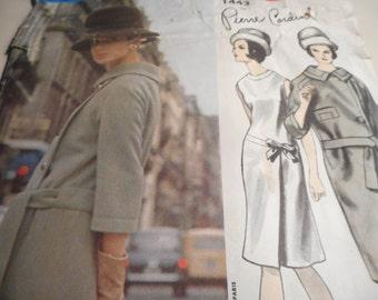Vintage 1960's Vogue 1443 Paris Original Pierre Cardin Dress and Coat Sewing Pattern Size 12 Bust 34