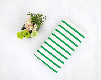 Green Stripes French Terry Knit Fabric, Stretchy Fabric, Cotton Polyester Knit Fabric - Fabric By the Yard 95135-01