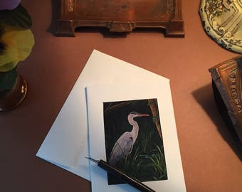 Notecards Great Blue Heron Print Set of Six blank photo frame note cards
