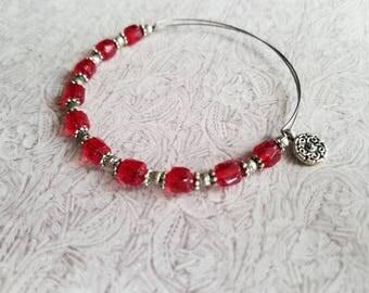 Flame & Silver - Expandable beaded bangle