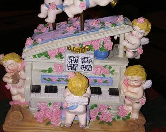 """Rotating Cherubs Music Box Plays """"The Entertainer"""" String Instruments Version...Exquisitely Detailed Masterpiece"""