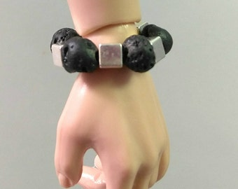 Fashion Doll Stretch Bracelet Jewelry - Lava Stone Bracelet with Silver Cube Accents for Fashion Royalty Hommes, Ken, Action Figures etc