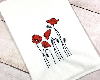 Red Poppies, Red Poppy, Red Poppy Gift, Red Poppy Gift For Her, Poppy Kitchen Decor, Poppy Home Decor, Poppy Kitchen, Poppy Towel