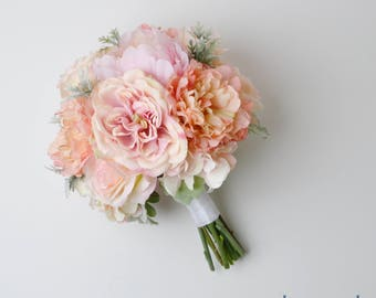 boho bouquet silk flower bouquet wedding bouquet bridal bouquet peony bouquet