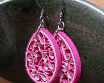 Shades of Pink Quilling Honeycomb Paper Earrings | First Paper Anniversary Gift for Wife | Paper Quilling Jewelry for Sensitive Ears
