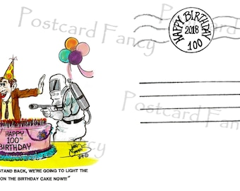 100 Years Old Birthday, Oh My!, Instant DIGITAL DOWNLOAD, Vintage 1st Day Cover, Printable