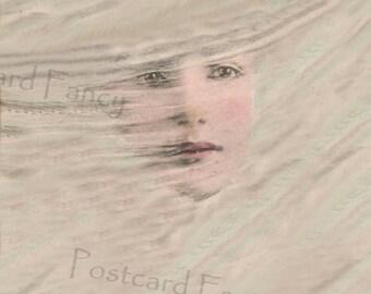 Fantasy Woman's Face, Dream, Reverie, Instant DIGITAL Download, Printable Image