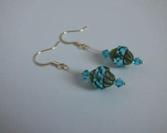 Silver and Blue Sparkling Stained Glass Swarovski Crystal Drop Dangle Earrings