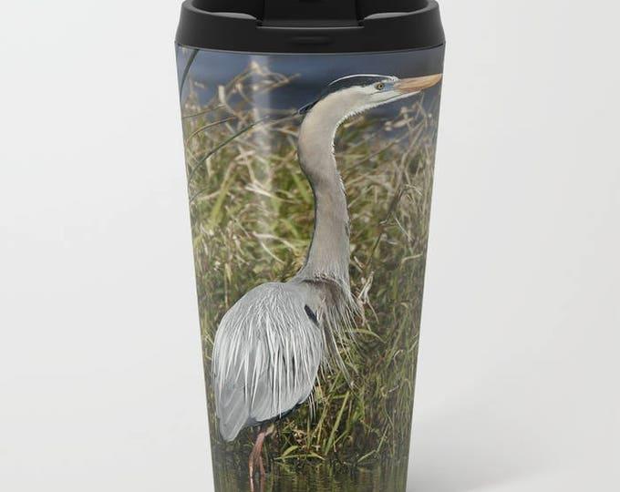 Great Blue Heron, Travel Metal Mug, Coffee Metal Mug, Bird Photography