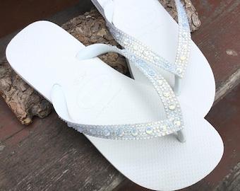 White Opal Crystal Wedding Flip Flops Full Moon Bling Havaîanas or Cariris Wedge Heel w/ Swarovski Rhinestones Bridal Beach Reception Shoes