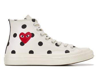 White Converse comme des garcons Play High Top Dot Lady Mens w/ Swarovski Crystal Rhinestone Chuck Taylor All Star Sneakers Trainer Shoes