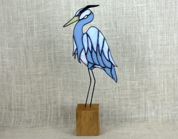 Blue Heron Stained Glass on Cherry Base