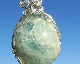 Aquamarine wire wrapped  Gemstone necklace