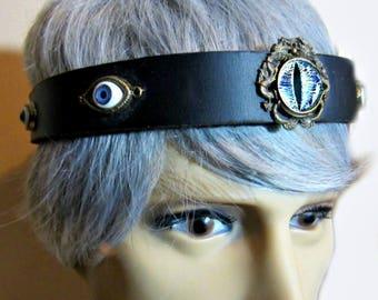 Circlet of Eyes, Mens Headpiece, Black Leather Headband, Costume Headpiece, Burning Man