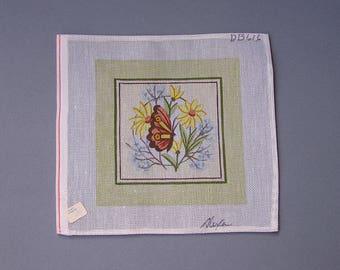 Vintage Needlework Canvas, Butterfly & Flowers, Alexa Needlepoint Canvas, unworked 18 mesh single thread canvas for needlepoint
