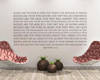 Vinyl Decal of The Beatitudes Matthew 5:1-12