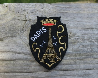 Vintage Paris France Embroidered Travel Patch