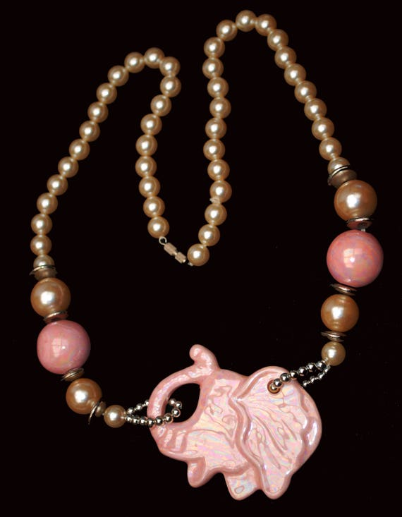 Pink Elephant Pearl Necklace - Ceramic beads -white pearls silver - funky necklace
