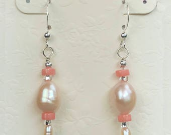 Pearl & Coral Earrings, Pink Baroque Pearl, Angelskin Coral, Real Pearls, Genuine Coral Earrings, Pearl Drop Earrings, Pastel Pearl Earrings