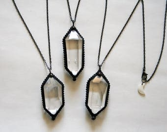 Water Clear Double Terminated Quartz Crystal Necklace // Framed Crystal Double Point Clear Quartz Necklace