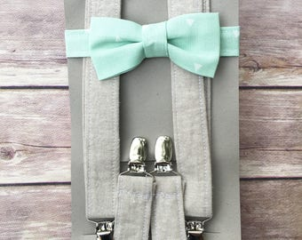 Linen with mint green Bowtie & Suspenders, Black Friday Special, Ready to Ship, Child Bow tie braces, Cyber Monday, Little boy Outfit