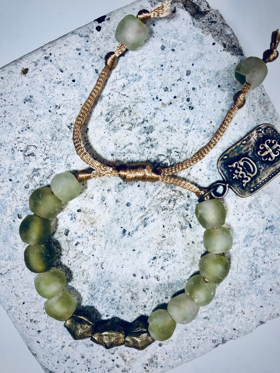 Boho Bracelet, Green African Glass, Brass African Beads, Silk rope,