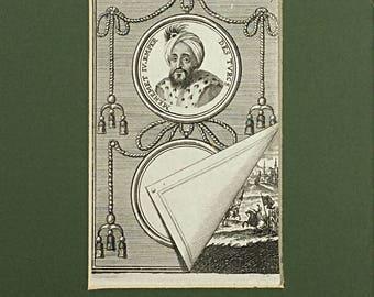 1683 Mehemet IV, Emperor of the Turks, Histoire de l'Univers, Allain Mallet, Antique Book plate