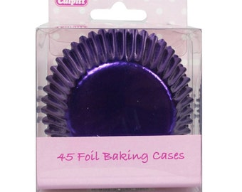 Metallic Purple Foil Cupcake Liners Baking Cups- 45 ct.