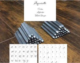 CUSTOM letter stamps - Metal Stamp Set with uppers & lowers -Alphabet Metal Stamping Set -Made by Stamp Yours - Custom Font AQUARELLE