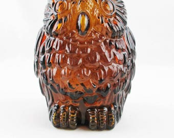 "A 'Wise Old Owl' Bank From Canada  - Brown Glass Bank  - 6"" Tall Owl - Clear Amber Brown Glass - Libby of Canada"