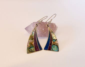 Vintage 1970's Mexican Alpaca Silver and Abalone Shell 'Fan' Earrings