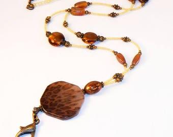 Id Lanyard, Beaded Id Lanyard, Badge Lanyard, Animal Print Id Badge Holder, Id Necklace, Eyeglass Holder, Womens Lanyards, LY08104