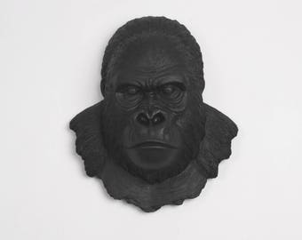 White Faux Taxidermy Gorilla Head - The Mambo in Black - Silverback Ape Head - Black Primate Mounted- Resin Animal Wall Art Ornament