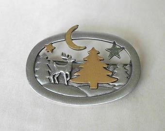 CIJ SALE Vintage JJ Jonette Brooch Pin Christmas Winter Scene Reindeer Tree Star Moon MargsMostlyVintage