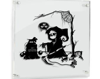 Goodbye Lil' Cerberus original hand cut paper art // handmade papercut framed wall artwork shadow art