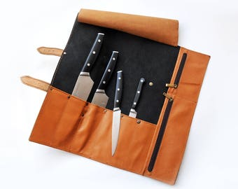Chef knife roll, Personalized black leather knife case