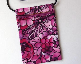 Pouch Zip Bag DRAGONFLY Fabric.  Great for walkers, markets, travel.  Cell Phone Pouch. Evening Purse. Stained Glass effect. wine rose mauve
