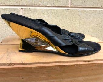 Unique 80s leather mules size 39