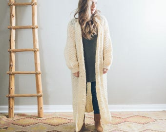 Vintage Ivory Knit Duster Sweater