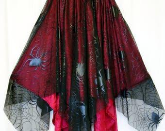 Black Widow Skirt Goth Velvet Cobweb Spider Wiccan Vampire handkerchief hem small medium and large OBSIDIAN Sale