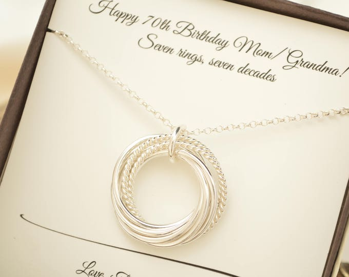 70th Birthday gift for mom, 70th Birthday gift for grandmother, 7 Rings necklace, 7th Anniversary gift for women, Family of 7, 7 Best friend
